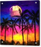 Moonrise Over The Tropics Acrylic Print