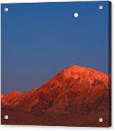 Moonset At Dawn Above Mount Tom - Eastern Sierra California Acrylic Print
