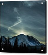 Moonset On Mt. Rainier Acrylic Print