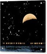 Moonset Over Depot Acrylic Print
