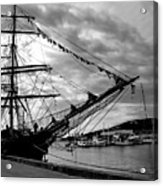 Moored At Hobart Bw Acrylic Print