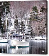 Moored Boats In Maine Winter  Acrylic Print