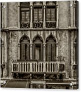 Moorish Style Windows Venice Monotone_dsc1450_02282017 Acrylic Print
