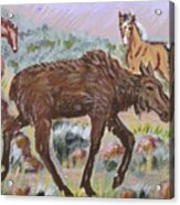 Moose And Horses Animal Vignette From River Mural Acrylic Print