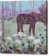 Moose And Three Sparrows Acrylic Print