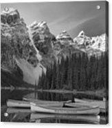 Moraine Lake In Black And White Acrylic Print
