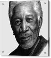 Morgan Freeman Charcoal Portrait Acrylic Print