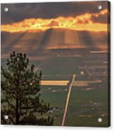 Morning Angel Lights Over The Valley Acrylic Print