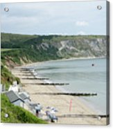 Morning Bay Pt Looking Up Swanage Bay On A Summer Morning Beach Scene Acrylic Print