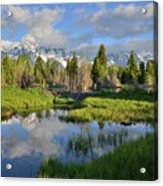 Morning Clouds Over Tetons Acrylic Print
