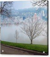 Morning Fog Over City Of Portland Skyline Acrylic Print