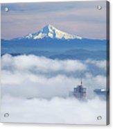 Morning Fog Over Portland Acrylic Print