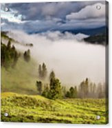Morning Fog Over Yellowstone Acrylic Print