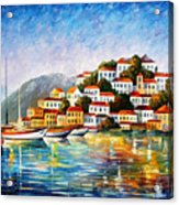 Morning Harbor - Palette Knife Oil Painting On Canvas By Leonid Afremov Acrylic Print