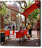 Morning On A Street In Tel Aviv Acrylic Print by Zalman Latzkovich