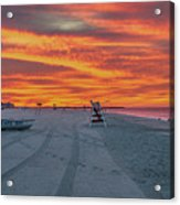 Morning Red Sky At Cape May New Jersey Acrylic Print