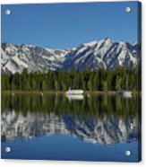Morning Reflection Boats On Colter Bay Acrylic Print