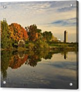 Morning Reflections Of Autumn Colours On A Farm Pond Acrylic Print