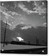 Morning Train In Black And White Acrylic Print
