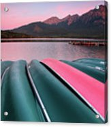Morning View Of Pyramid Lake In Jasper National Park Acrylic Print