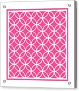 Moroccan Endless Circles I With Border In French Pink Acrylic Print