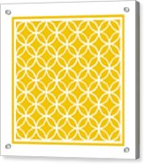 Moroccan Endless Circles I With Border In Mustard Acrylic Print