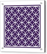 Moroccan Endless Circles I With Border In Purple Acrylic Print