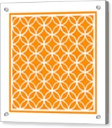 Moroccan Endless Circles I With Border In Tangerine Acrylic Print