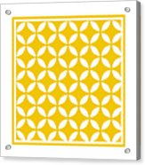 Moroccan Endless Circles II With Border In Mustard Acrylic Print