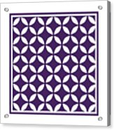 Moroccan Endless Circles II With Border In Purple Acrylic Print