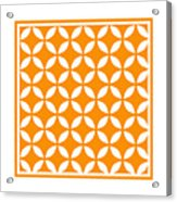 Moroccan Endless Circles II With Border In Tangerine Acrylic Print