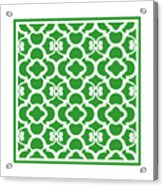Moroccan Floral Inspired With Border In Dublin Green Acrylic Print