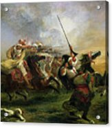 Moroccan Horsemen In Military Action Acrylic Print