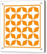 Moroccan Inlay With Border In Tangerine Acrylic Print