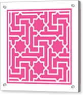 Moroccan Key With Border In French Pink Acrylic Print