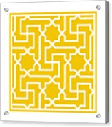 Moroccan Key With Border In Mustard Acrylic Print