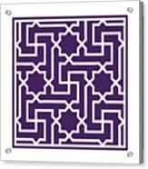 Moroccan Key With Border In Purple Acrylic Print