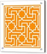 Moroccan Key With Border In Tangerine Acrylic Print