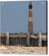 Morris Island Lighthouse Sea Wall Acrylic Print