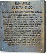 Morro Fortress - Puerto Rico Acrylic Print