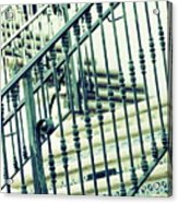 Mosaic And Iron Staircase La Quinta California Art District In Mint Tones Photograph By Colleen Acrylic Print