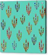 Mosaic Cacti On Aqua Acrylic Print