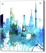 Moscow, Russia, Watercolor In Blue Acrylic Print
