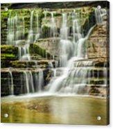 Mossy Flowing Waterfalls In Enfield Glen Acrylic Print