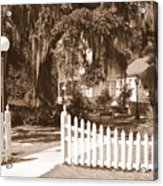 Mossy Live Oak And Picket Fence Acrylic Print