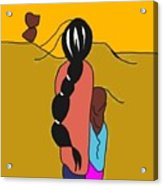 Mother And Child In Desert Wind Acrylic Print