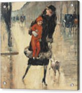 Mother And Child On A Street Crossing Acrylic Print