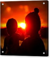 Mother And Child On Sunset Acrylic Print
