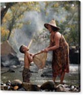 Mother And Son Are Happy With The Fish In The Natural Water Acrylic Print