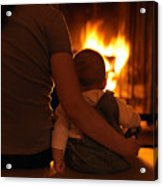 Mother And Son Sitting In Front Of A Firepalce Acrylic Print